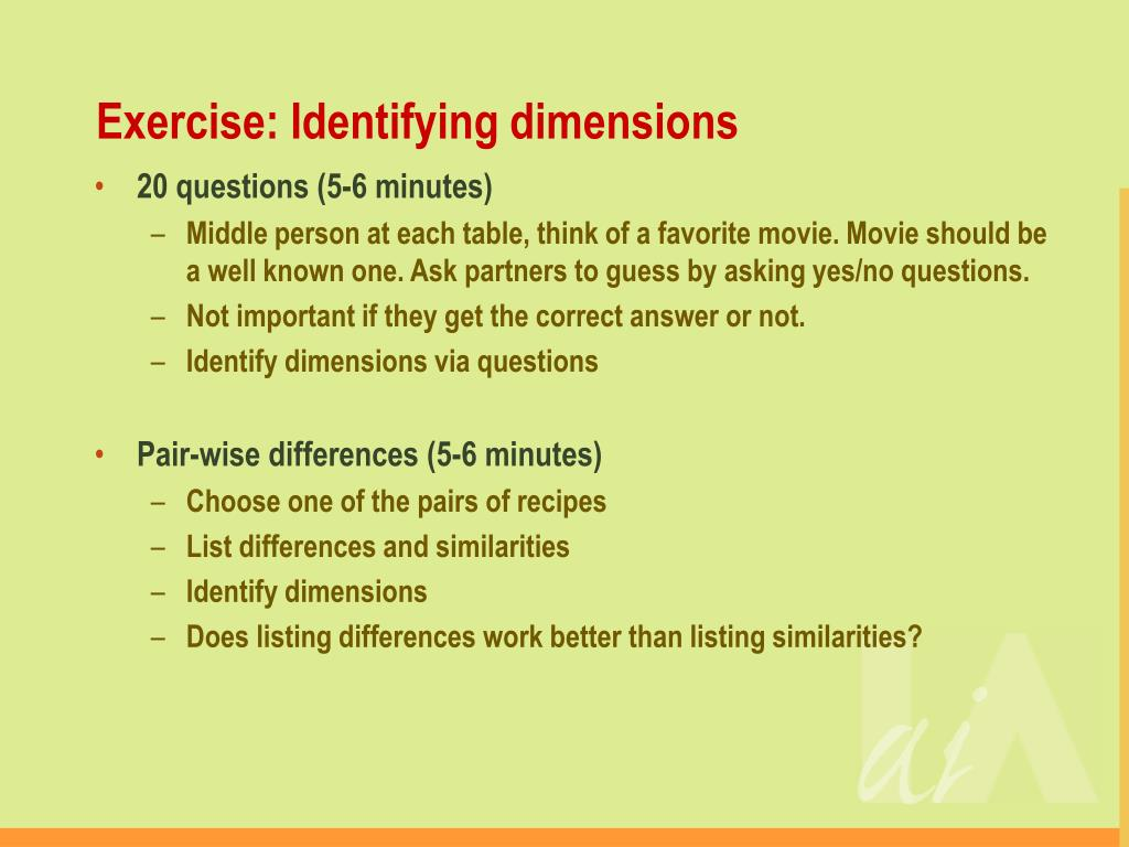 Exercise: Identifying dimensions