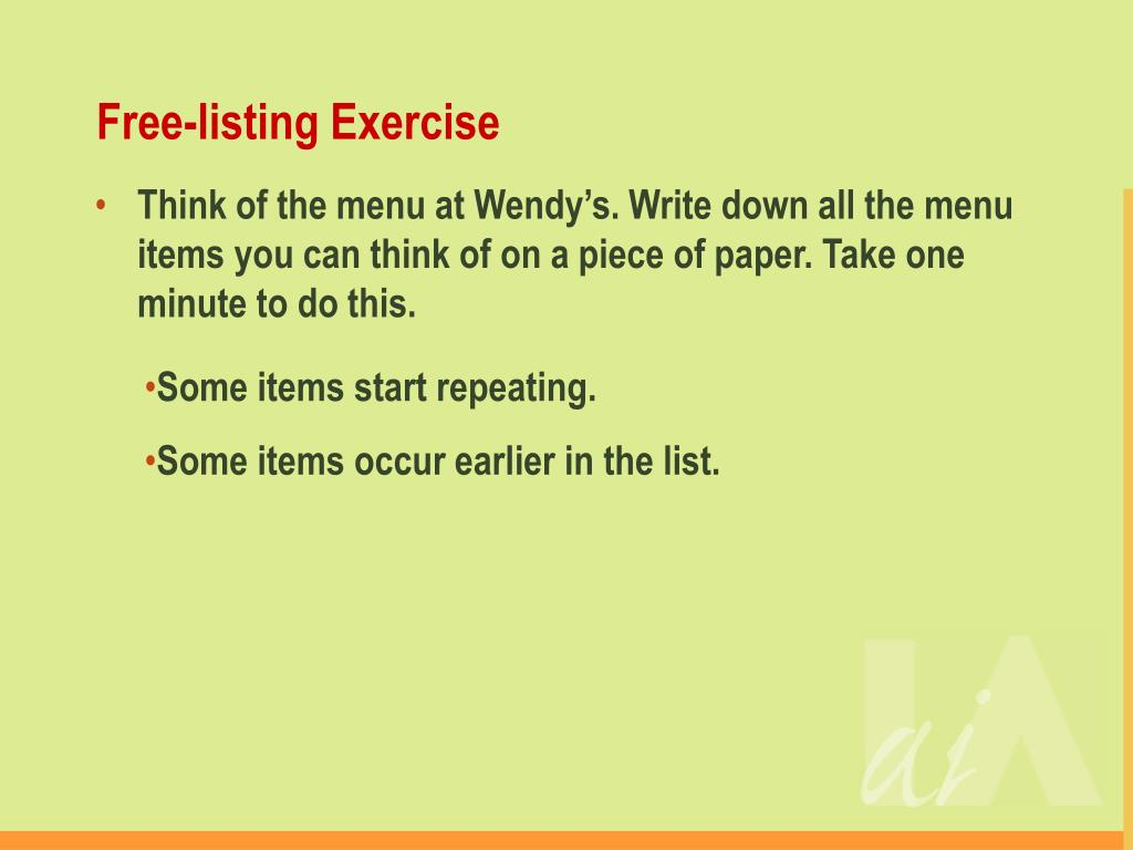 Free-listing Exercise