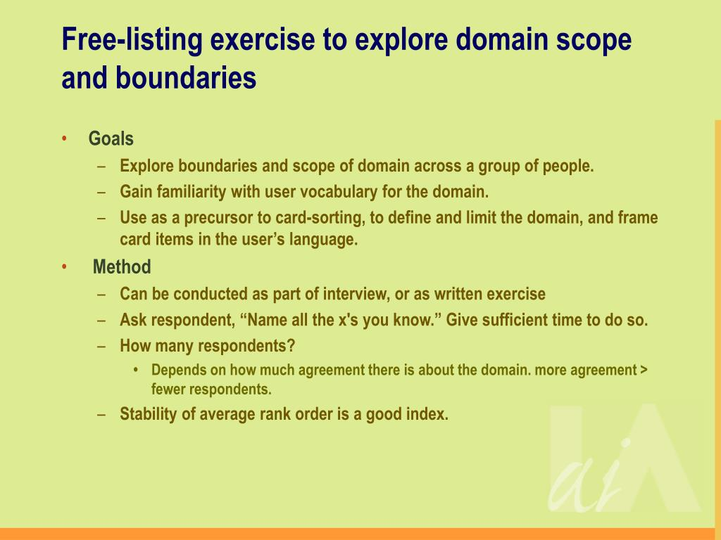 Free-listing exercise to explore domain scope and boundaries