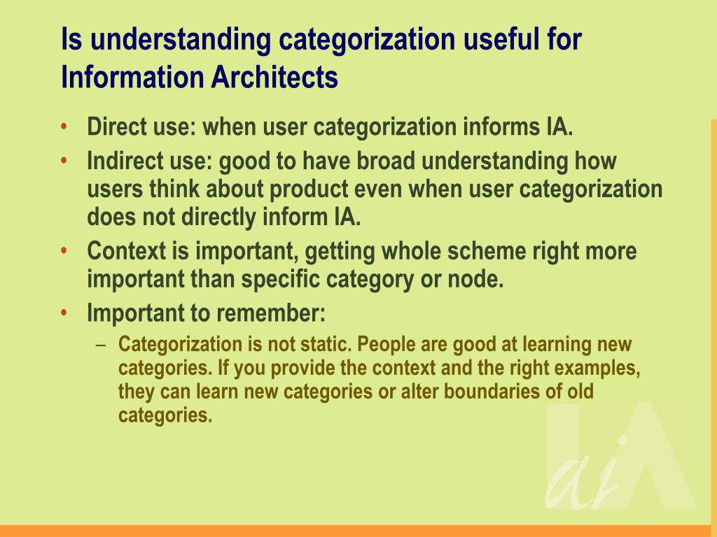 Is understanding categorization useful for Information Architects