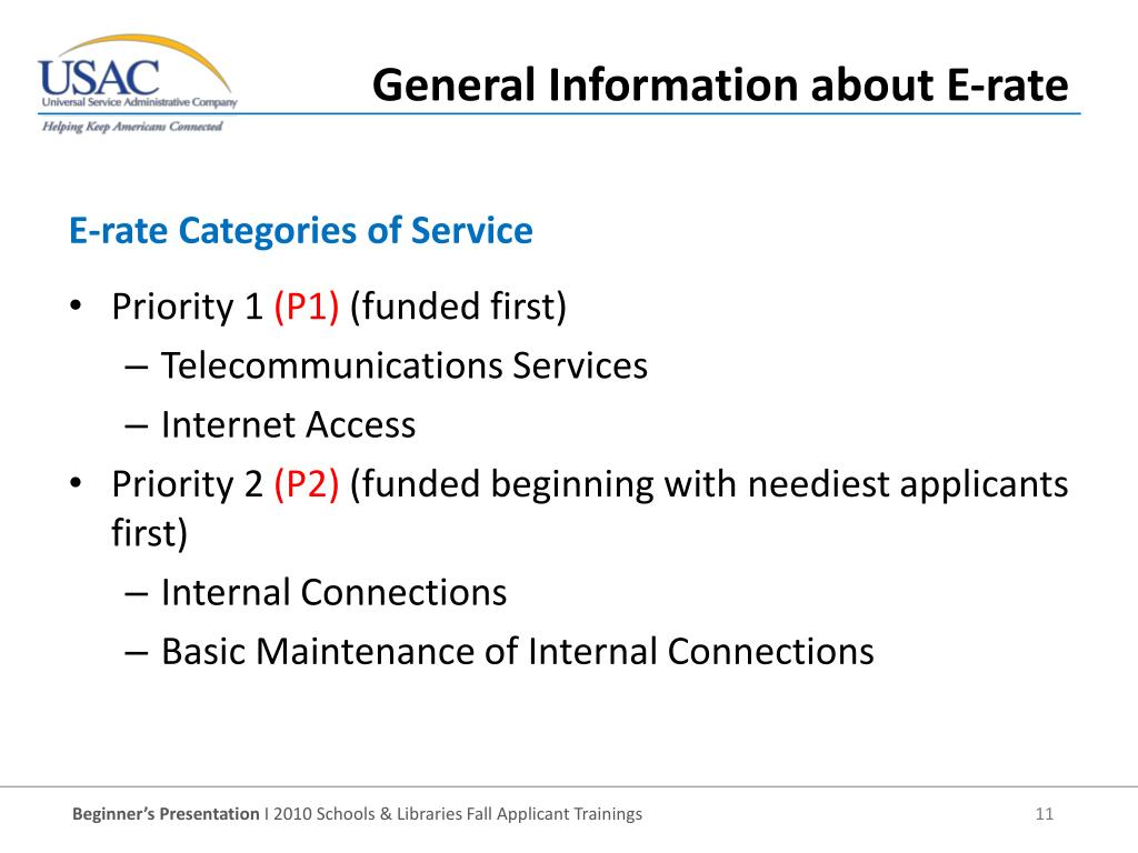 E-rate Categories of Service