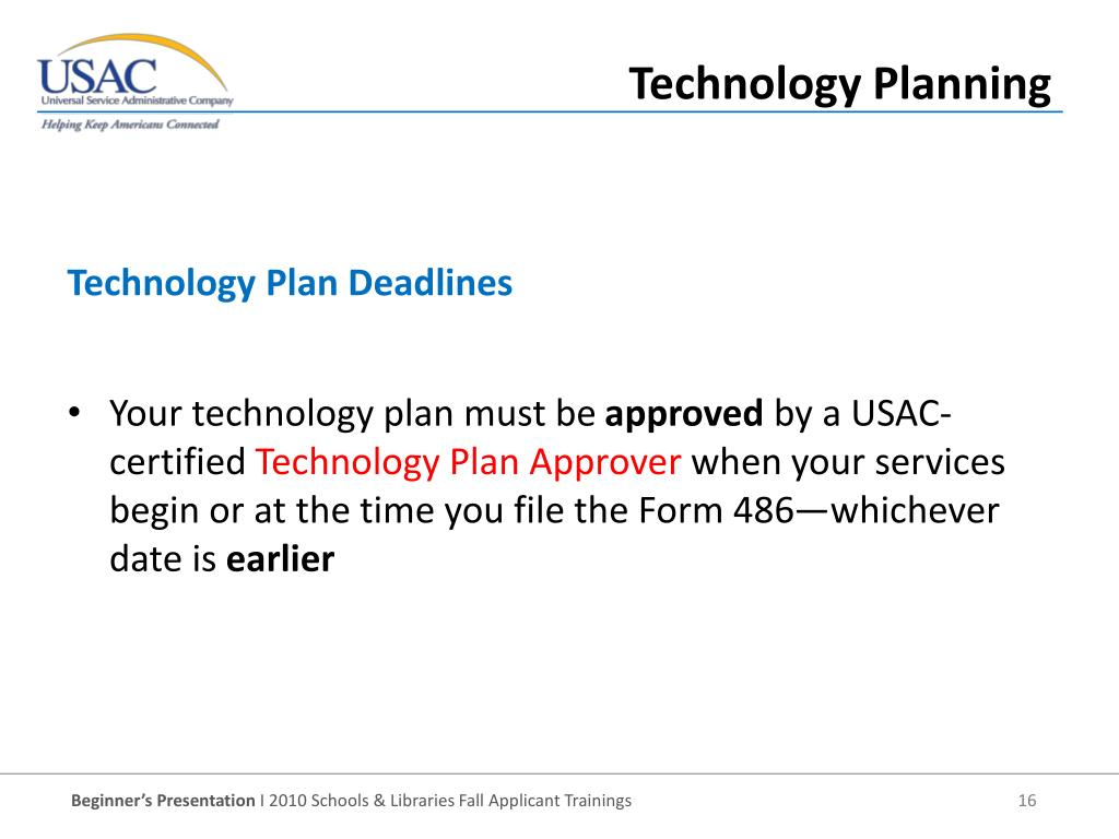 Your technology plan must be