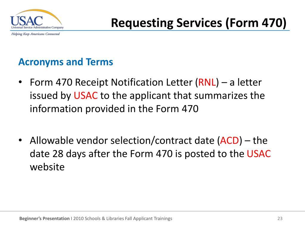 Form 470 Receipt Notification Letter (