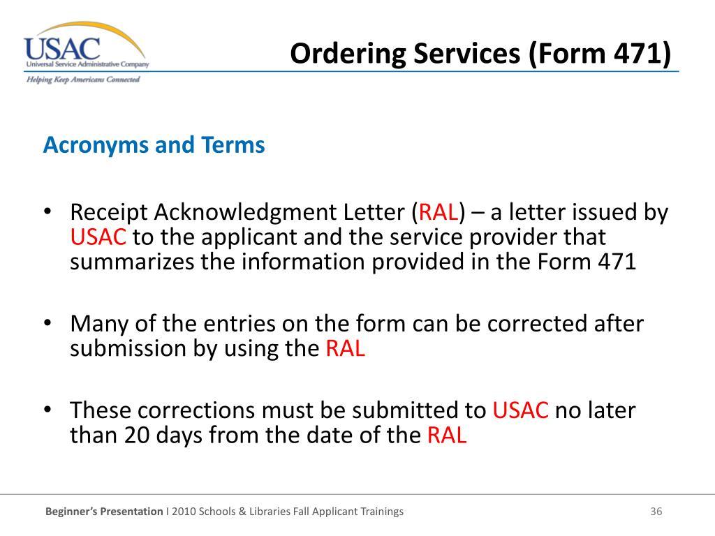 Receipt Acknowledgment Letter (