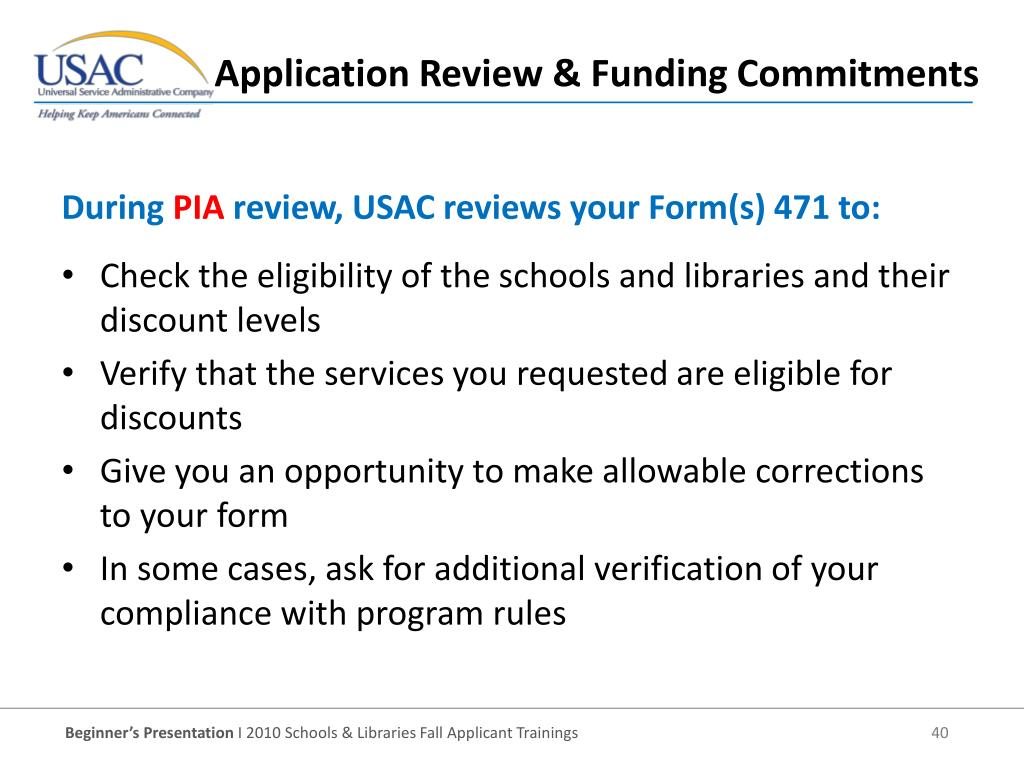 Check the eligibility of the schools and libraries and their discount levels