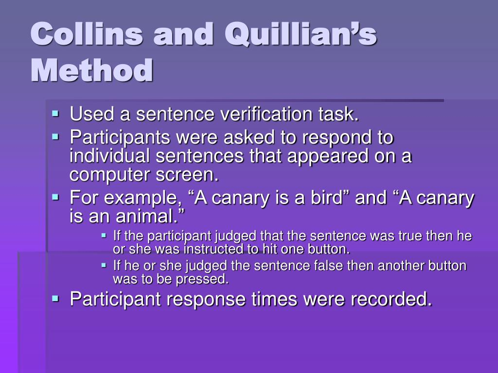 Collins and Quillian's Method