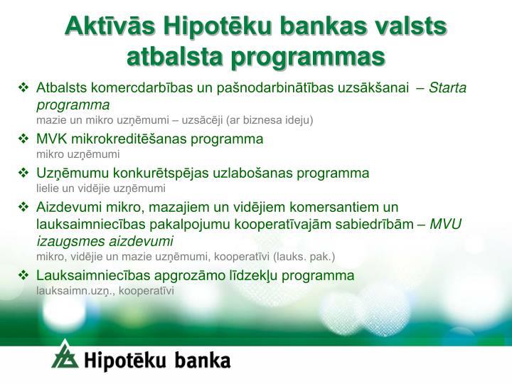 Akt v s hipot ku bankas valsts atbalsta programmas