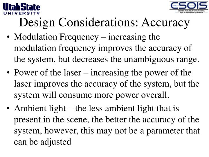 Design Considerations: Accuracy