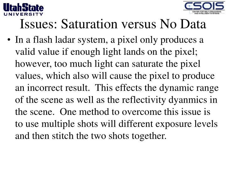 Issues: Saturation versus No Data