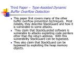 third paper type assisted dynamic buffer overflow detection