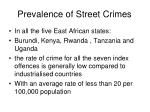 prevalence of street crimes