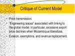 critique of current model