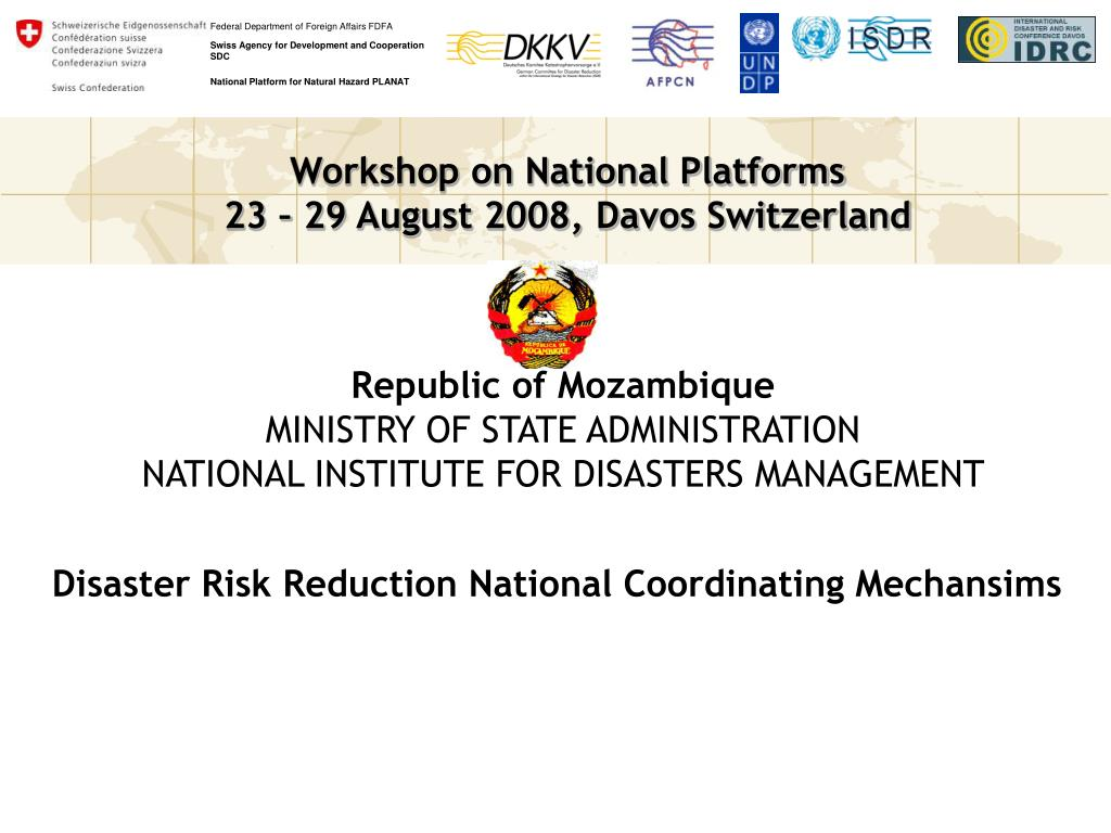 republic of mozambique ministry of state administration national institute for disasters management l.