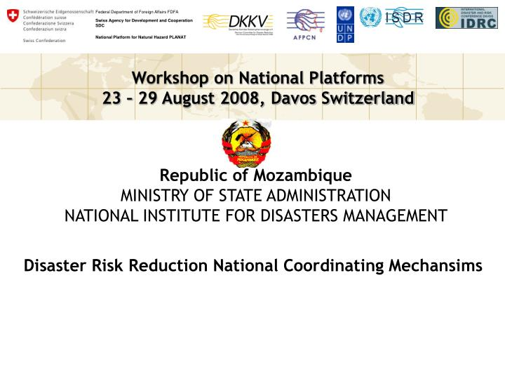 Republic of mozambique ministry of state administration national institute for disasters management