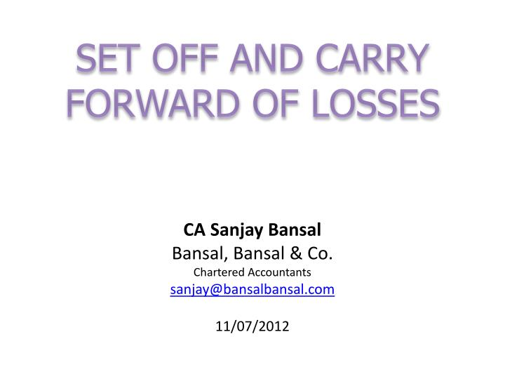 set off and carry forward of losses n.
