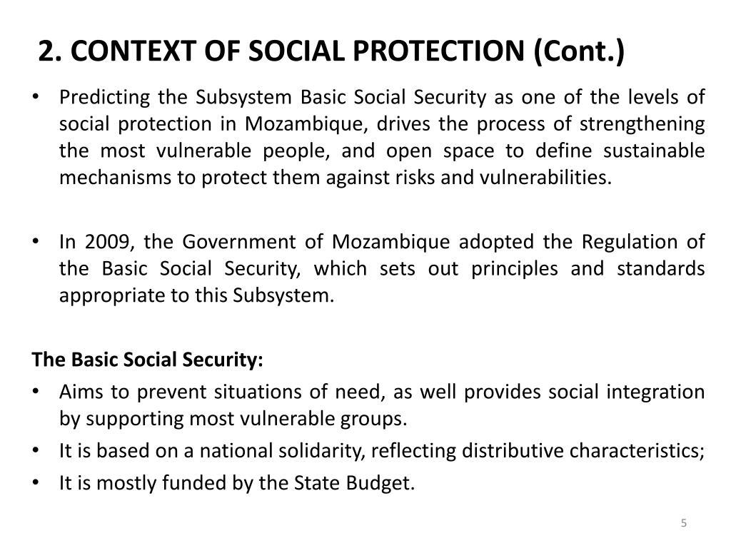 2. CONTEXT OF SOCIAL PROTECTION (Cont.)