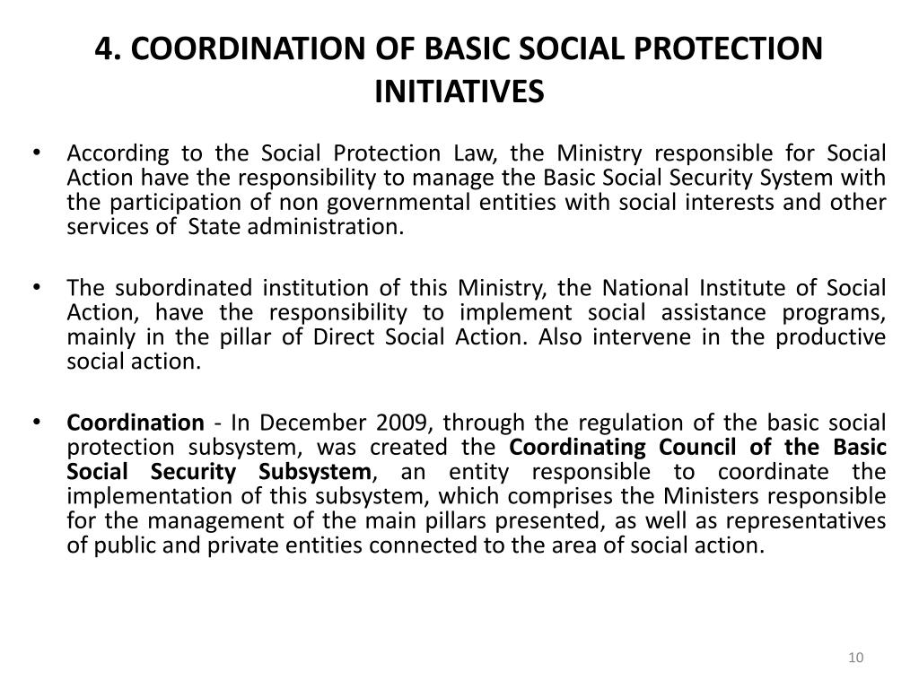 4. COORDINATION OF BASIC SOCIAL PROTECTION INITIATIVES