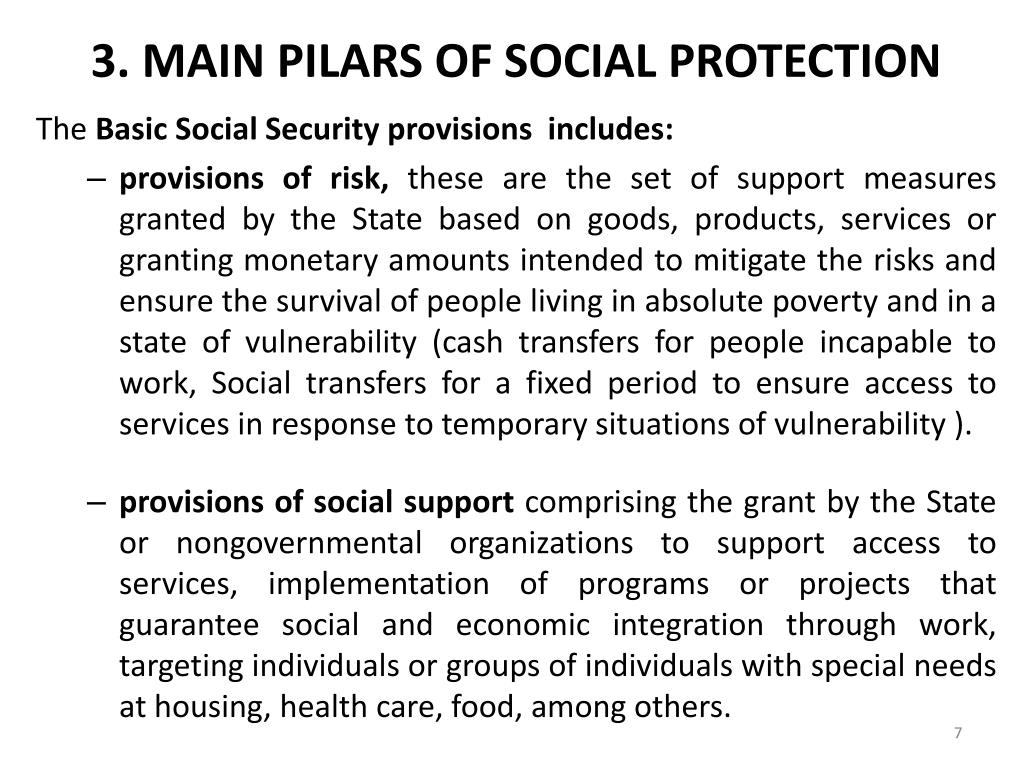 3. MAIN PILARS OF SOCIAL PROTECTION