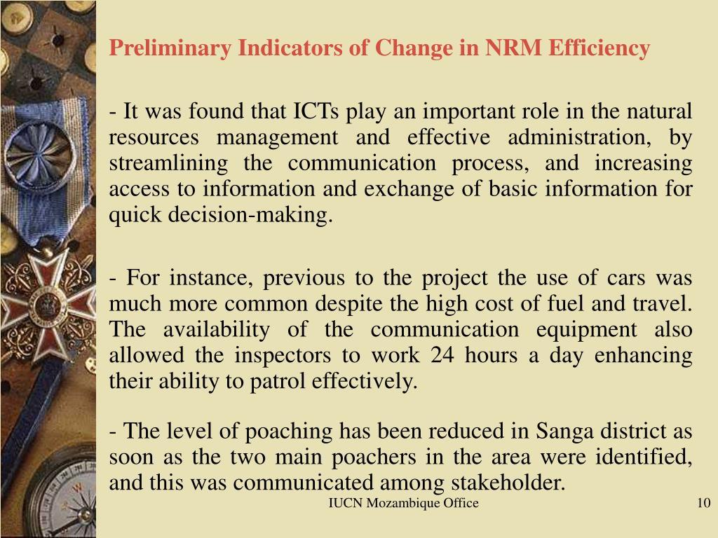 Preliminary Indicators of Change in NRM Efficiency