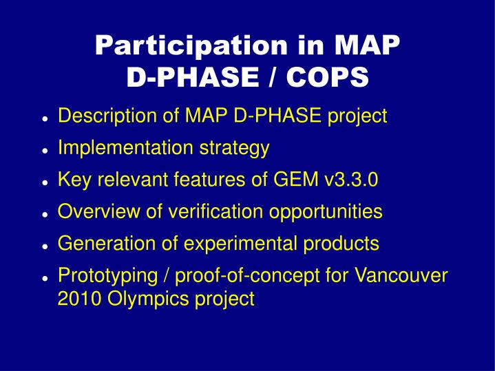 participation in map d phase cops n.