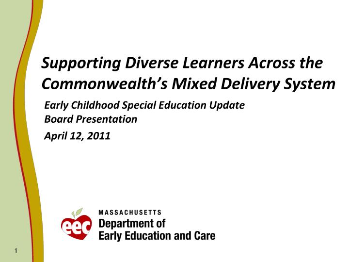 supporting diverse learners across the commonwealth s mixed delivery system n.