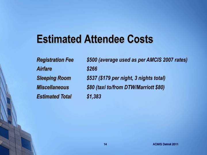 Estimated Attendee Costs
