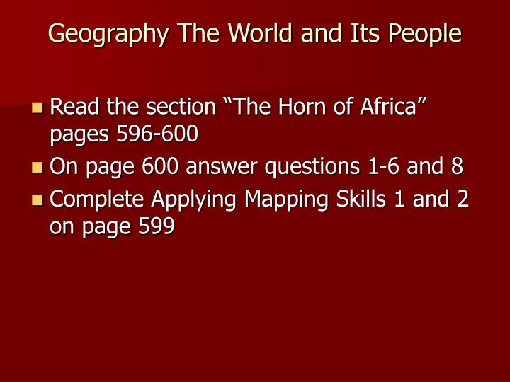 Geography The World and Its People