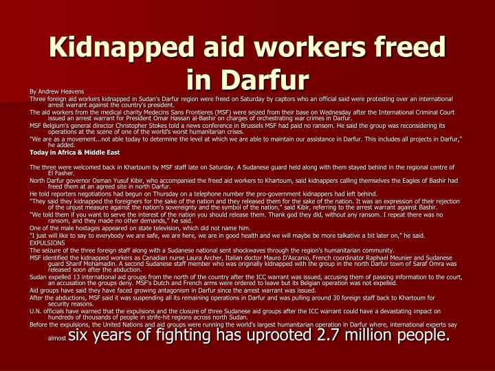 Kidnapped aid workers freed inDarfur