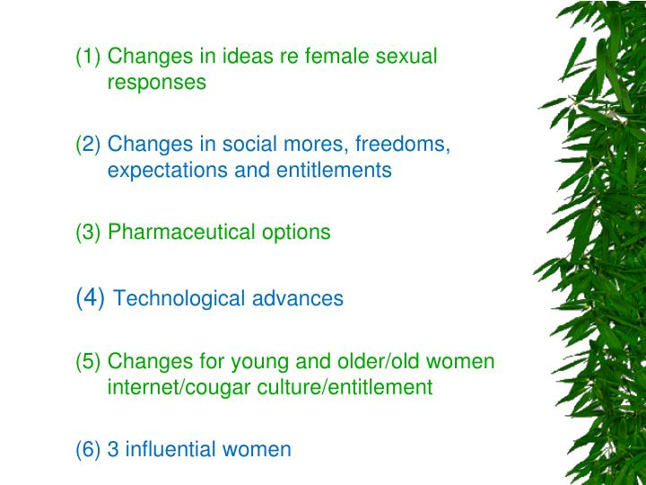 (1) Changes in ideas re female sexual responses
