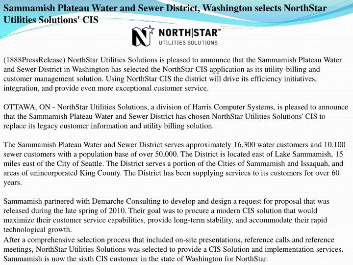 Sammamish Plateau Water and Sewer District, Washington selects NorthStar Utilities Solutions' CIS