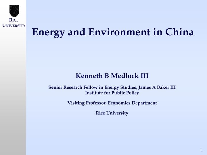 energy and environment in china n.
