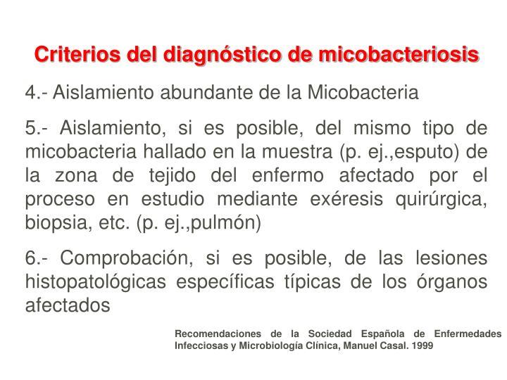 Criterios del diagnóstico de micobacteriosis
