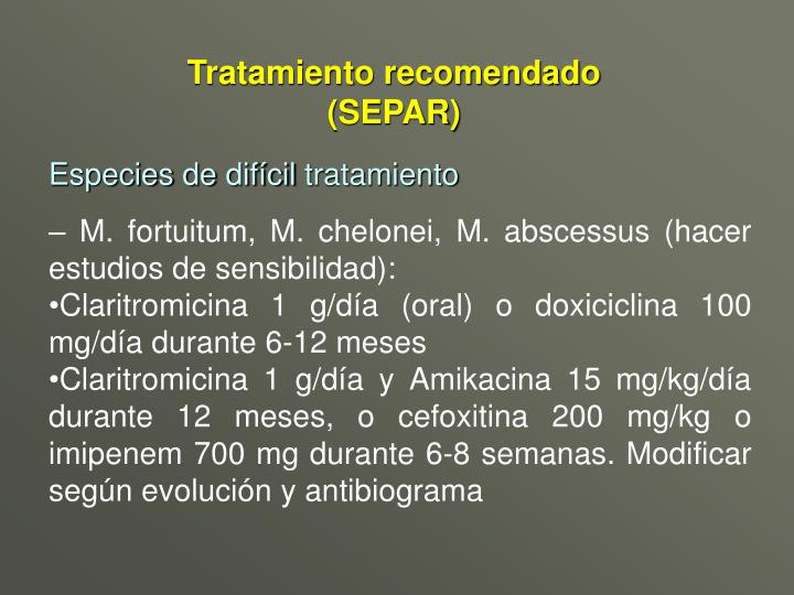 Tratamiento recomendado (SEPAR)