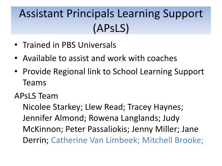 Assistant Principals Learning Support (