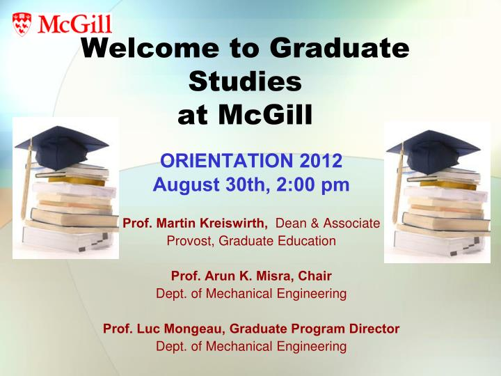 welcome to graduate studies at mcgill n.