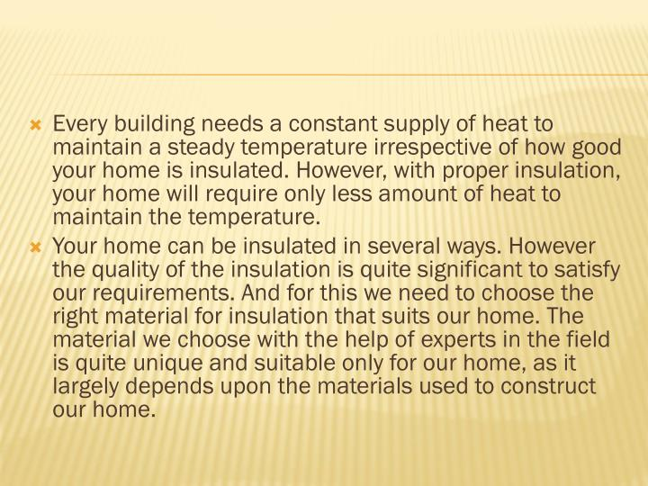 Every building needs a constant supply of heat to maintain a steady temperature irrespective of how ...