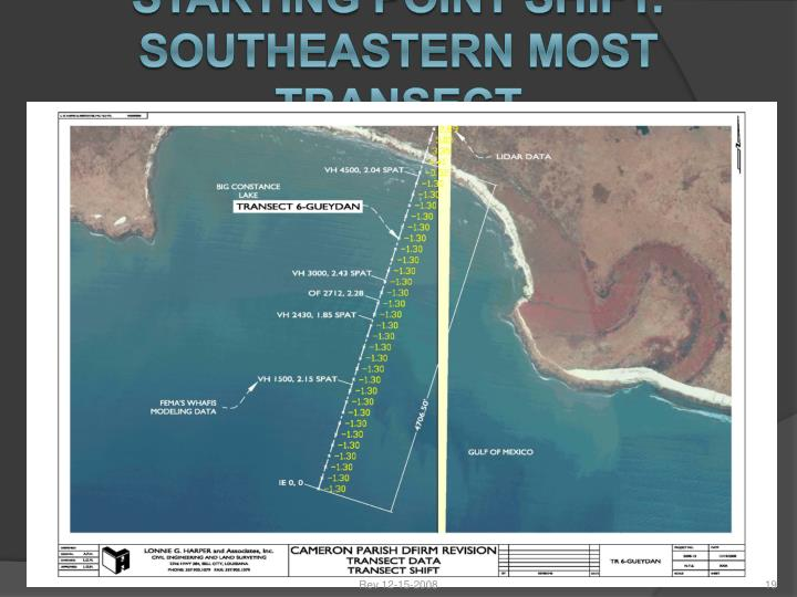 STARTING POINT SHIFT: SOUTHEASTERN MOST TRANSECT