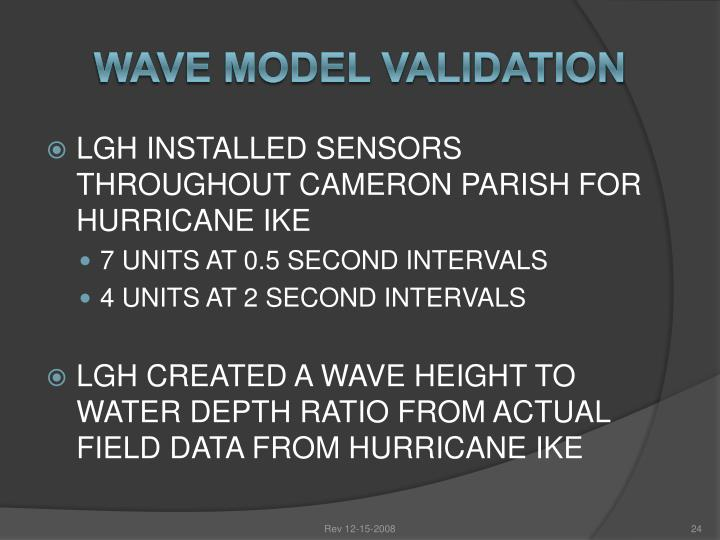 Wave Model Validation