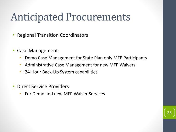 Anticipated Procurements