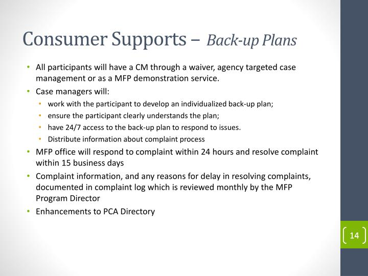 Consumer Supports –