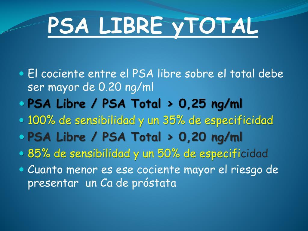 valores de próstata libre de PSA