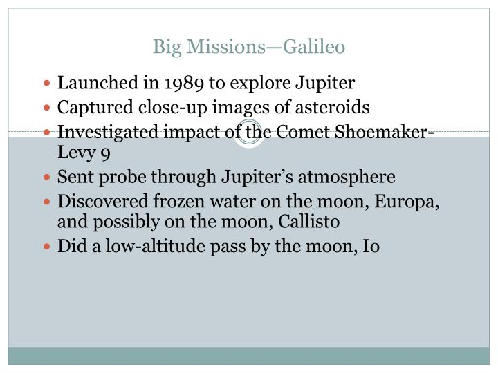 Big Missions—Galileo