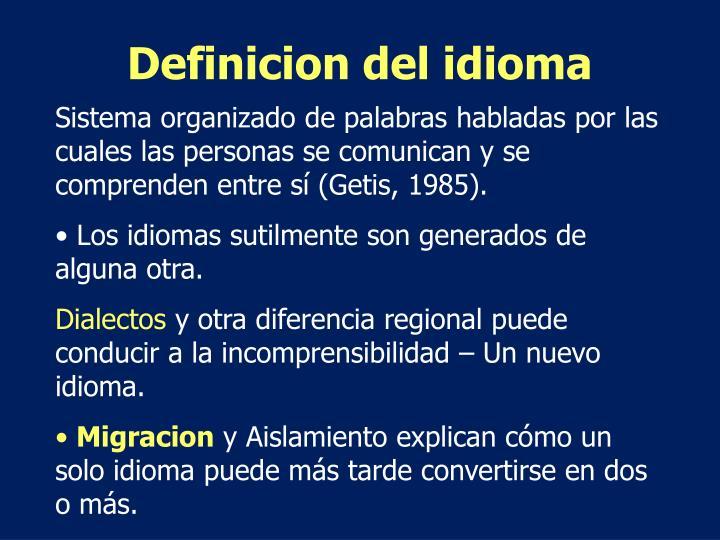 Definicion del idioma
