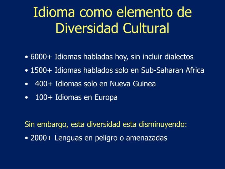 Idioma como elemento de Diversidad Cultural