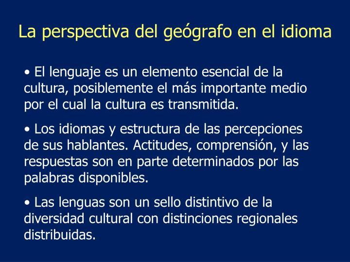 La perspectiva del geógrafo en el idioma