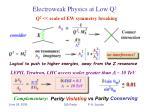 electroweak physics at low q 2
