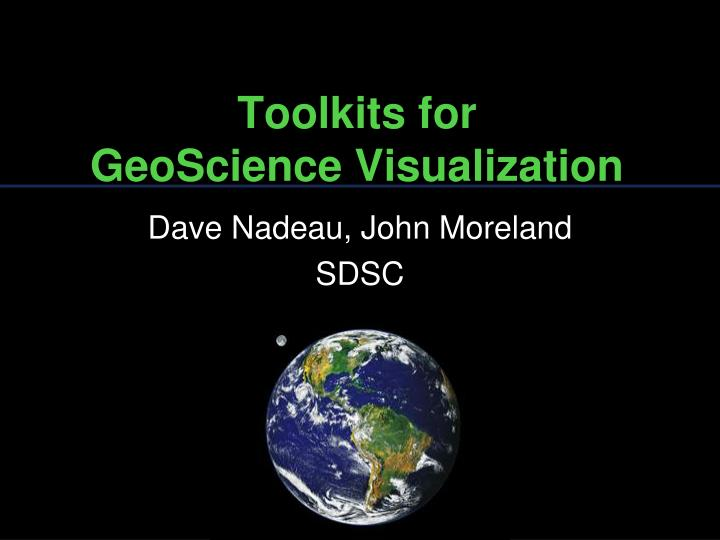 toolkits for geoscience visualization n.
