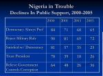 nigeria in trouble declines in public support 2000 2005