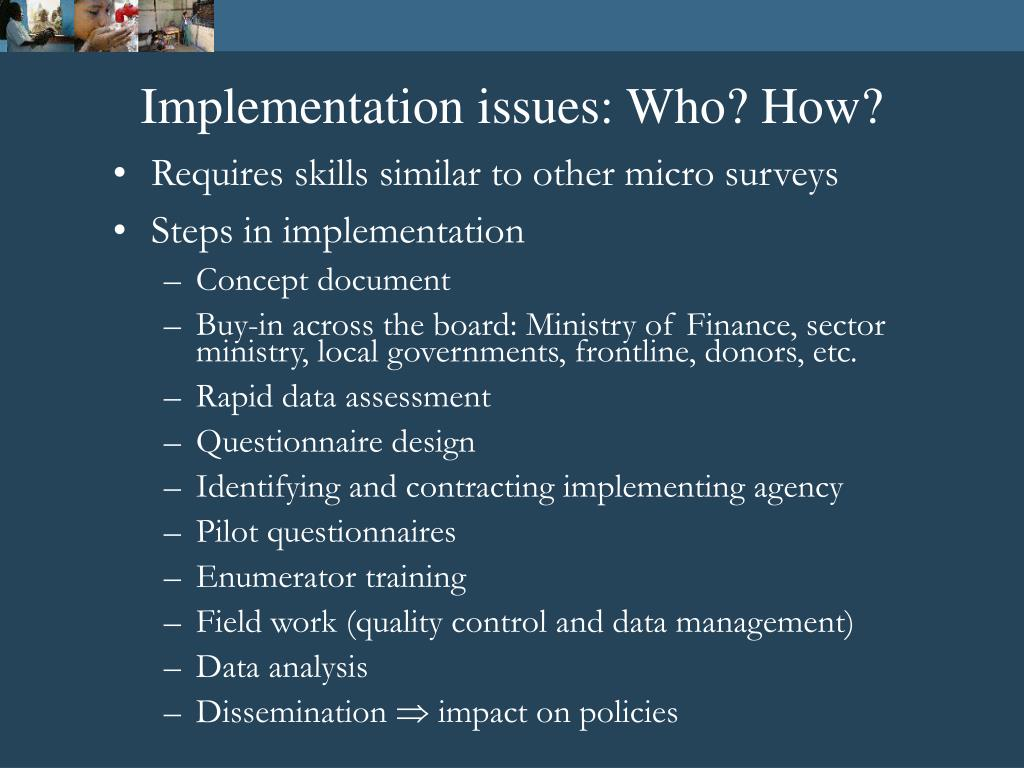 Implementation issues: Who? How?