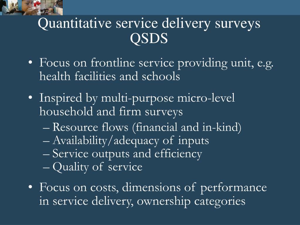 Quantitative service delivery surveys QSDS